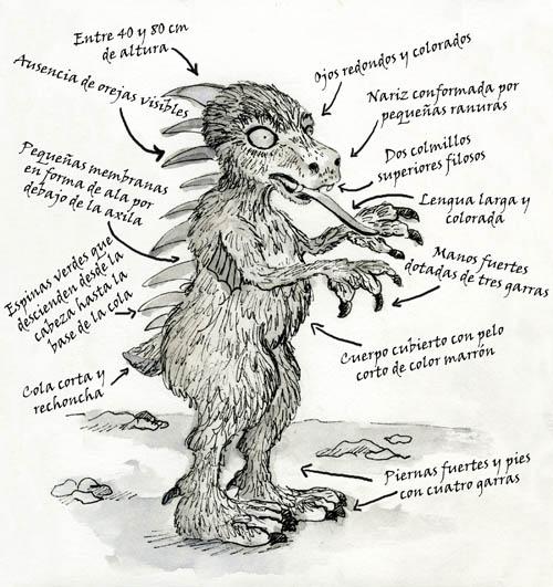 Imagen de un chupacabras y sus atributos físicos